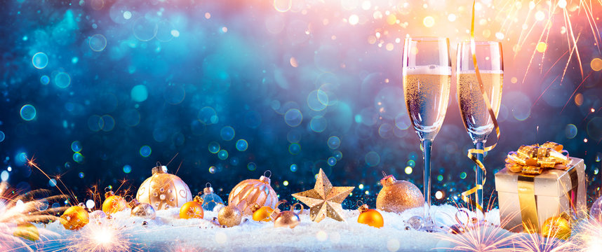 New Year Toast Champagne - Flutes With Christmas Decoration