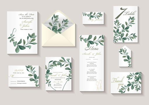 Wedding invitation with leaves eucalyptus, watercolor, isolated on white. Vector Watercolour.
