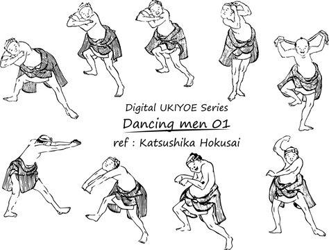 Digital UKIYOE Series : 踊る男たち01