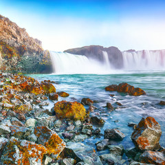 Photo sur Aluminium Lavende Fabulous scene of powerful Godafoss waterfall