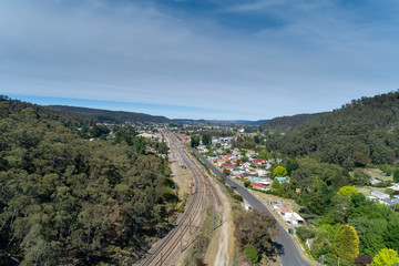 The small town of Oaky Park near Lithgow in the upper Blue Mountains in Australia