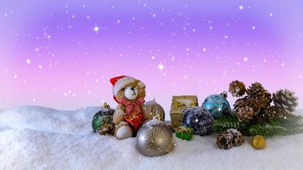 Christmas Decorations with teddy Bear Illustration