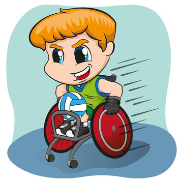Illustration represents wheelchair blond boy practicing rugby, wheelchair sport Paralympic games. Ideal for sports and institutional materials