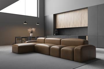 Fototapeta Leather sofa in modern living room and kitchen obraz