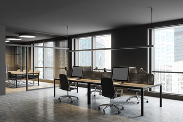 Gray office workplace and meeting room