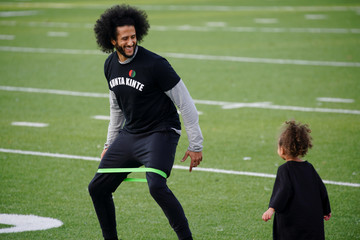 Kaepernick is seen at a special training event at Charles. R. Drew High School in Riverdale