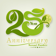 Fototapeta Natural and leaf of Number 25 Anniversary year obraz