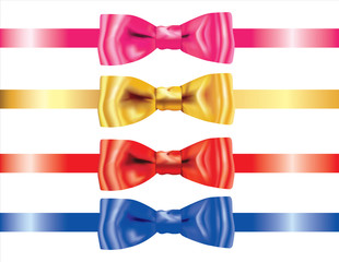 Set of Realistic Ribbon bows Bows on White Background. 3D Realistic design vector.