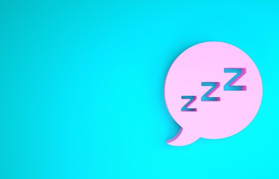 Pink Speech bubble with snoring icon isolated on blue background. Concept of sleeping, insomnia, alarm clock app, deep sleep, awakening. Minimalism concept. 3d illustration 3D render