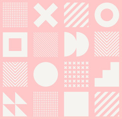 Vector geometric seamless pattern with simple shapes. Abstract minimalistic background.