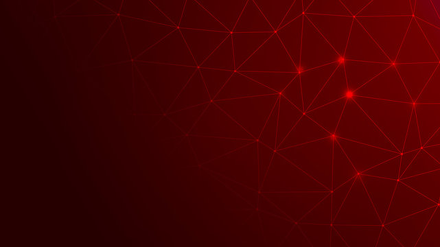 Abstract Red Background with Network Internet Connections. Data Breach, Malware, Cyber Attack, Hacking