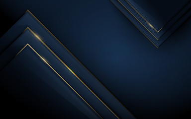 Wall Mural - Abstract 3d polygonal pattern luxury dark blue with gold background. Vector illustration