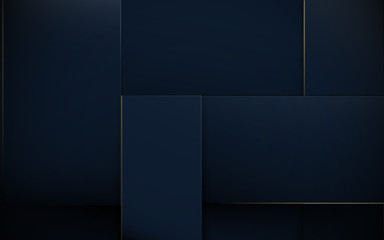 Wall Mural - Abstract 3d rectangles pattern luxury dark blue with gold background