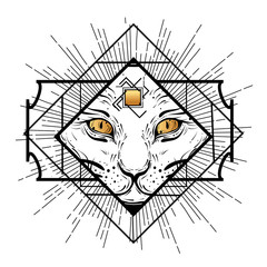 Foto op Canvas Hand getrokken schets van dieren Dark witchy illustration with cat in frame. Decorative design element in flash tattoo style.
