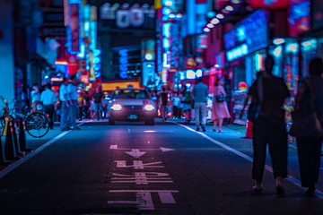 A night of the neon street in Shinjuku Tokyo tiltshift Fotomurales