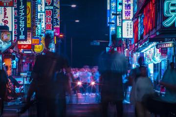 A night of the neon street in Shinjuku Tokyo long shot