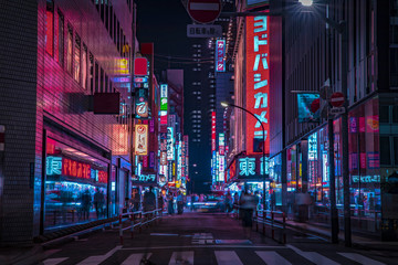 A night of the neon street at the downtown in Shinjuku Tokyo wide shot Fotomurales