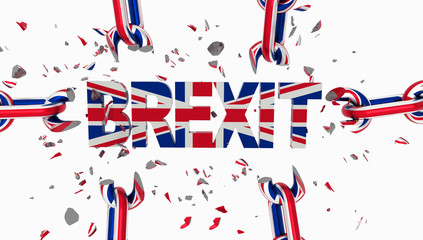 brexit chain breaking and text  english flag for background isolated - 3d rendering