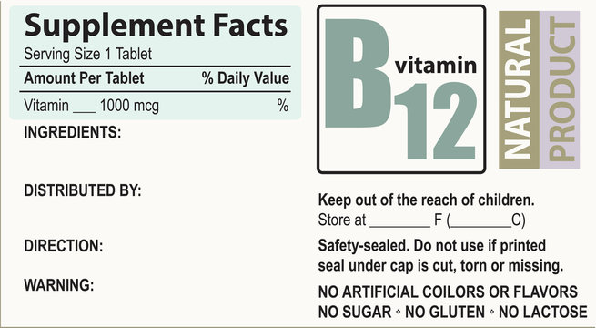 Supplement facts Vitamin B