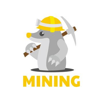 worker Mole Mining wear hard hats logo design