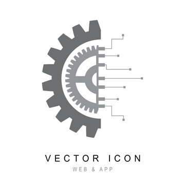 Gear with chip. Flat design style, Gear electronic circuit technology icon line Vector illustration.