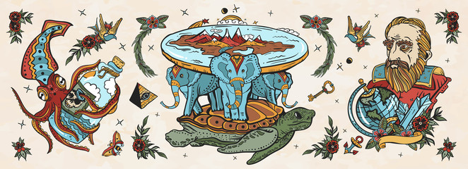 Flat Earth theory. Turtle and three elephants. Octopus kraken and Galileo scientist. Old school tattoo vector collection. Traditional tattooing style
