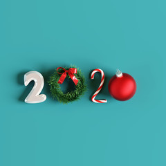 2020 New year. Christmas creative idea. 3d rendering