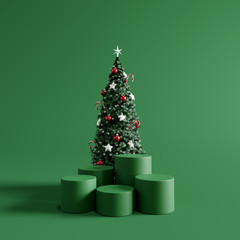 Christmas podium with green background. 3d rendering