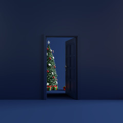 Christmas room with open door. 3d rendering