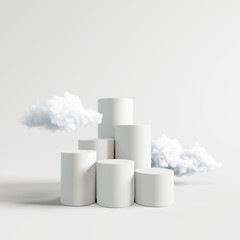 Podium with cloud on bright white background. 3d rendering