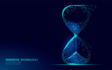 Hourglass 3D low poly dark time of life concept. Deadline present future and past hours gone. Time stream flow value. Creative opportunity ideas schedule vector illustration