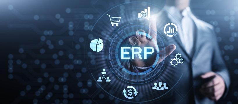 ERP Enterprise resources planning system software business technology.