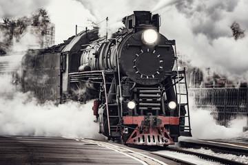 Obraz Steam train departs from Riga railway station. Moscow. Russia. - fototapety do salonu
