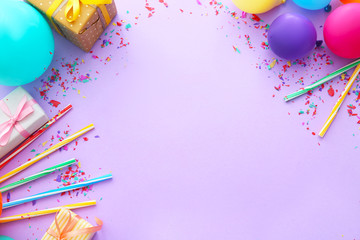 Composition with balloons, gifts and place for text on color background