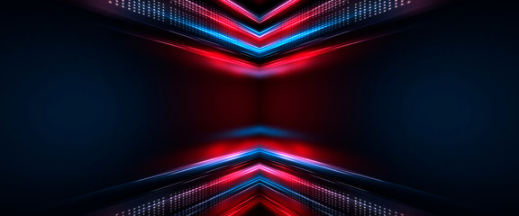 Fotomurales - Background of empty show scene. Empty dark modern abstract neon background. Glow of neon lights on an empty stage, diodes, rays and lines. Lights of the night city.