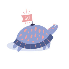 Cartoon turtle in scandinavian style. Cute picture for textile, wrapping, wallpaper, apparel. Vector illustration of funny reptile on white background.