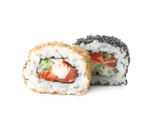 Foto op Aluminium Sushi bar Tasty sushi rolls on white background