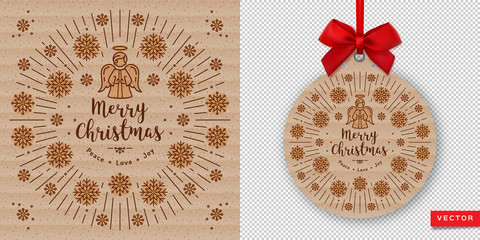 Merry Christmas Card and Happy New Year 2020. Round banner with red ribbon and bow on a transparent background, Christmas card of kraft paper. Vector flat illustration