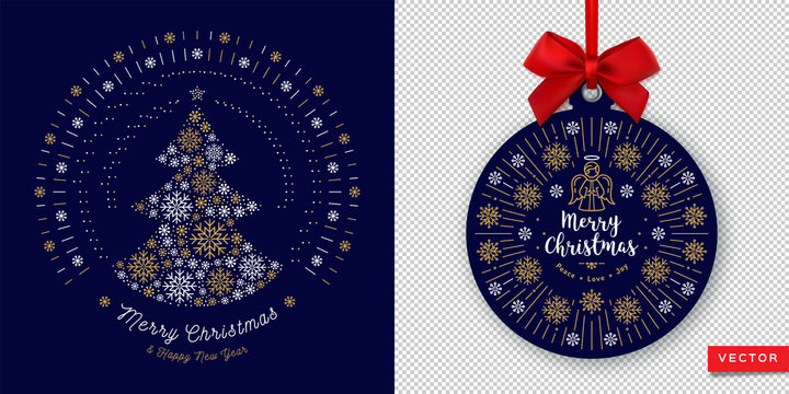 Merry Christmas Card and Happy New Year 2020. Round banner with red ribbon and bow on a transparent background. Vector Xmas card