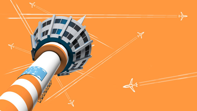Air Traffic Control Tower, 3D rendering Big modern airport illustration. Urban AP exterior with trees and flight of construction and building, terminal, airplanes, car and radio tower isometric