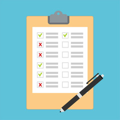 Hand filling checklist on To Do List. Form illustration with paper work document. Vector Modern flat design concept for web banners, web sites, printed materials, infographics.