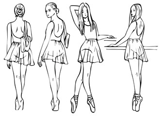 Sketch of girl's ballerinas standing in a pose set. Beautiful black and white hand drawing ballerina on a white background