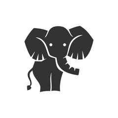 Elephant Cute Character Logo Design Vector Template isolated
