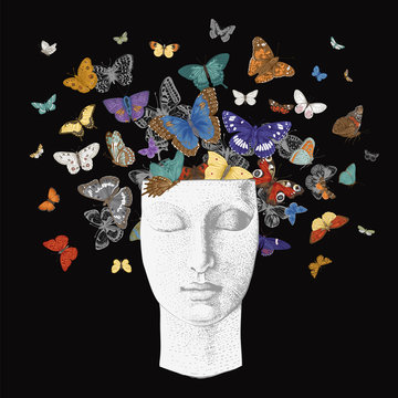 ..Butterflies from the head. Vector vintage classic illustration. Dark. Colorful..