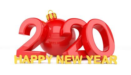 3d Illustration - Christbaumkugel 2020 - Silvester, Neujahr, Countdown, Jahreszahl - rot