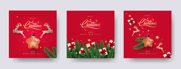 Set of Christmas and New Year greeting cards with xmas decoration. Winter Holiday Posters or banners design in modern realistic style with fir branches, gift boxes, christmas tree toys deer and stars