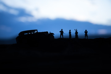War concept. Creative composition. Silhouette of German general at the desert. Army commanders...