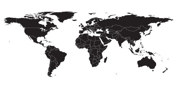 World map black , white background isolated . Vector illustration.