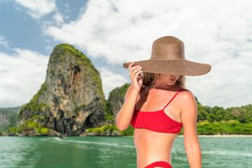 Girl Tourist Sail Long Tail Thailand Boat Ocean Sea Vacation Travel Trip