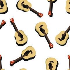 Seamless acoustic guitar pattern on a white background vector